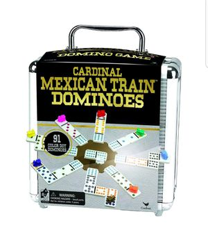 Mexican Train Dominoes Game Set Double 12 Color Domino Cardinal Aluminum Case. Condition is New. for Sale in Whittier, CA