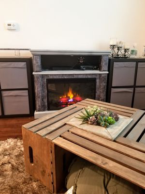 Electric fireplace and shelves with inserts for Sale in Oceanside, CA