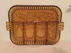Antique amber glass serving tray for Sale in Winter Park, FL