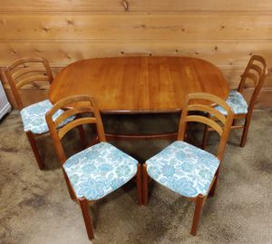 Vintage teak table with chairs for Sale in Wenatchee, WA