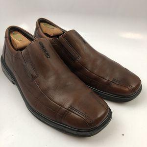 Clarks 12 US M Men Dress Loafers Brown Structured 87743 Bike Toe Leather Slip On Solid for Sale in Edinburg, TX