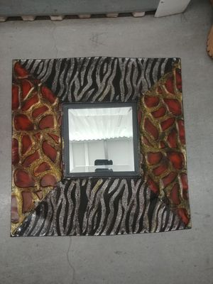 Zebra and giraffe print hanging decor mirror for Sale in Houston, TX