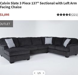 Left Facing Dark Grey Sectional for Sale in Hayward,  CA