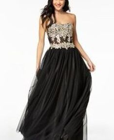 Brand: Macy's Black And Gold Prom Dress Size 1 for Sale in Boston,  MA
