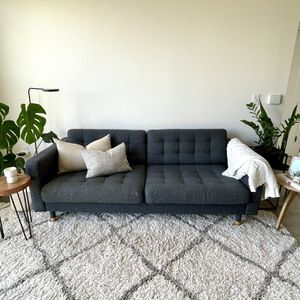 3-Seat Dark Grey Sofa + Oak Legs - Curb Side Delivery Available for Sale in Austin, TX