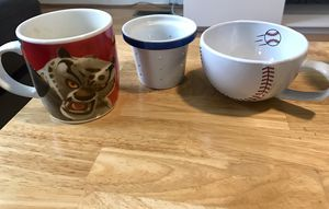 Coffee mugs and tea strainer for Sale in Dulles, VA