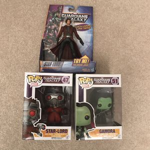 NEW Marvel guardians of the galaxy toy star lord figure and pop funko figures starlord gamora for Sale in Burtonsville, MD