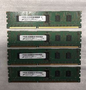 Lots of 4- Micron 8GB RAM (4x2GB) 1RX8 PC3L 10600R MT9KSF25672PZ, memory for desktop. for Sale in Concord, NC
