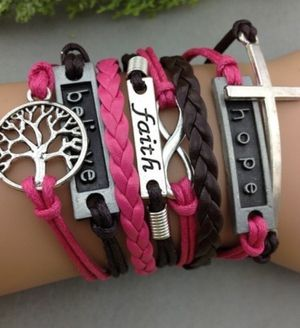 One left Infinity Antique Charm colorful leather hope believe faith peace tree retro bracelet for Sale in Federal Way, WA