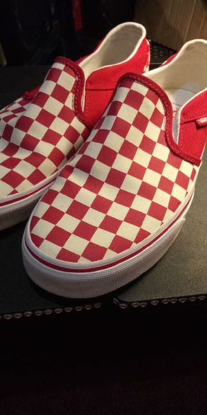 Red & white checker slip on vans for Sale in Mesquite, TX