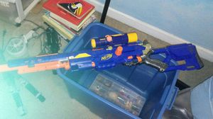 Nerf NStrike gun with scope and long barrel for Sale in Pittsburgh, PA