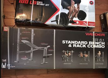 Standard Bench And Rack Combo With 100lb Vinyl Weight Set for Sale in Whittier,  CA