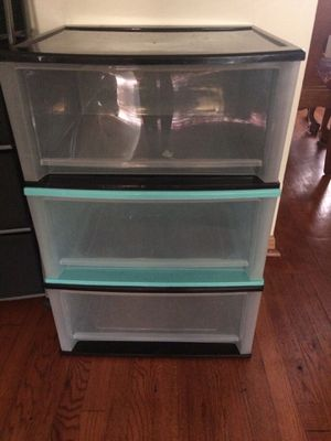 "3 Large Plastic Stacking Storage Bins / Drawers in Black and Aqua. Measures 20.5"" x 19"" x 11"" high for Sale in Yonkers, NY"