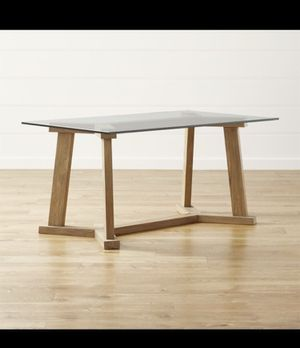 Crate and Barrel Teak Wood Kitchen Dining Table with glass top 60x36 for Sale in Chicago, IL