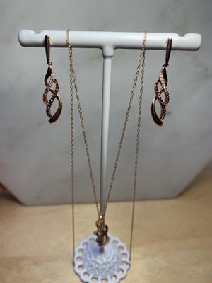 Real 10Kt Rose Gold Diamond Necklace and Earring Set for Sale in Richmond, CA