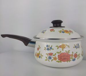 Vintage floral saucepan enamel pot summer garden by Excel for Sale in Bonney Lake, WA