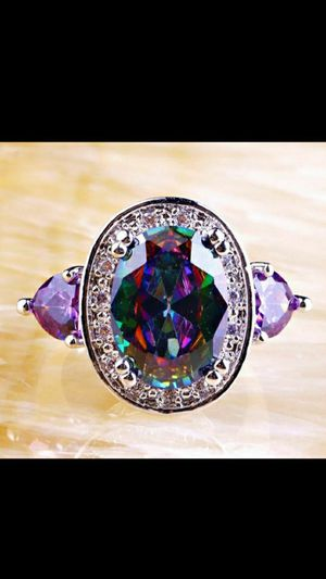 Beautiful! Mystic Topaz CZ & Amethyst Ring -925 Sterling Silver Filled- Size 9 3/4🌷💎💍🌷2 for $30 (Mix & Match Most Jewelry Items) for Sale in Salisbury, NC