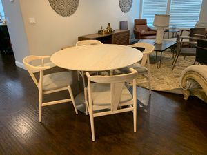 White Wood Mid Century Modern Dining Set w/metal base for Sale in Tempe, AZ