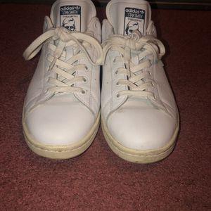 Adidas Stan Smith White, Blue Fuzzy Heel sneakers Women's Sz 11 / Men's Sz 9.5 for Sale in Brooklyn, NY