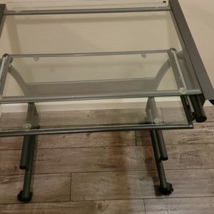 Glass Top Computer Desk With Pull Out Keyboard Tray for Sale in Forest Grove, OR