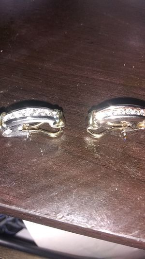 Ladies two tone 14k gold and diamond earrings for Sale in Joliet, IL