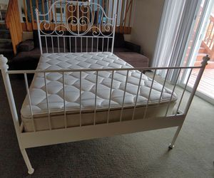 White Full Size Platform Bed Frame w/ free Mattress for Sale in Westminster, CO