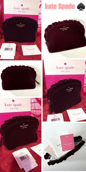 Kate Spade small ruffle cosmetic bag super cute 😍 cherry wood color 🙅 $38 ( tag price $89) 🙅 FIRM Pick up ONLY for Sale in Los Angeles, CA