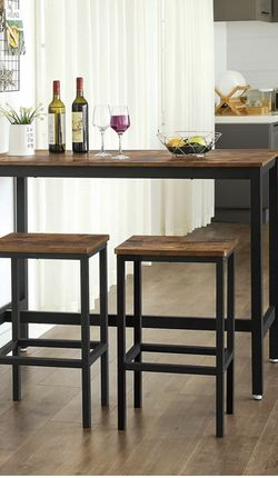 Bar Table Set, Bar Table with 2 Bar Stools, Dining table set, Kitchen Counter with Bar Chairs, Industrial for Kitchen, Living Room, Party Room, Rustic for Sale in Norco,  CA