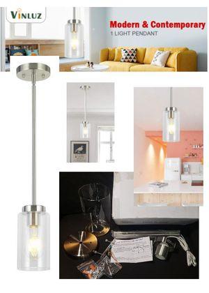 Glass Pendant Lighting Fixture- Brushed Nickel Adjustable Hanging Lamp for Sale in Burbank, CA