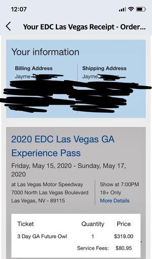 EDC 2020 3 Day Admission Ticket for Sale in Chula Vista, CA