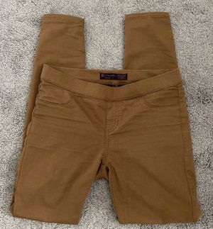 Women's Girls Kids Brown Tan Low-Rise Stretch Shinny Jeans Pants By No Boundaries for Sale in Chapel Hill, NC