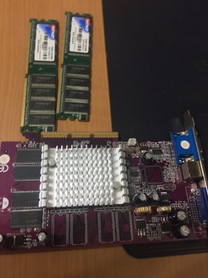 Two 1gb ddr ram, and an fx5200 128mb graphics card for Sale in Kennard, TX