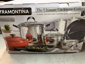 Tramontina 10-Piece Kitchen Essentials Multi-Material Cookware Set- missing cast iron pan for Sale in Garden Grove, CA
