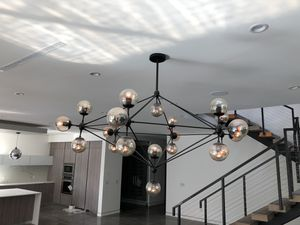 """Black chandelier fixture 21 glass balls purchased new didn't use still in the box 60"""" diameter for Sale in Los Angeles, CA"""