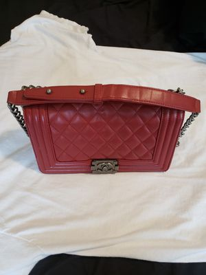 Chanel boy ruthenium hardware red leather bag for Sale in McKinney, TX
