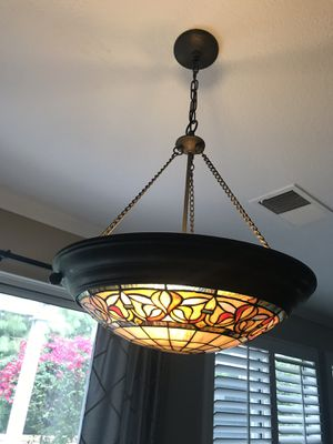 Dining table hanging Chandelier light stained glass antique bronze for Sale in Tustin, CA