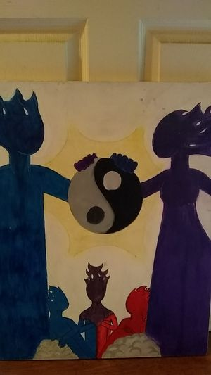 Retro yin and yang family canvas painted by yours truly for Sale in Modesto, CA
