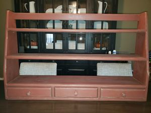 Wooden Wall Shelf / Sitter Distressed Brick Red 3 Small Bottom Drawers for Sale in San Antonio, TX