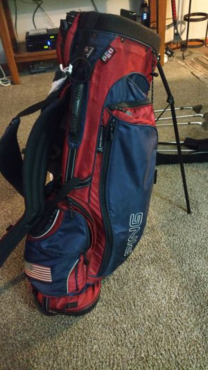Ping golf bag w brookside country club logo on the other side and an American flag on the bottom where the ball bag is for Sale in Westerville, OH