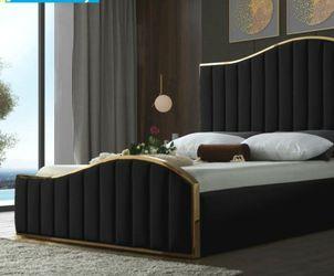 🌟Best Price👌$39 Down Payment 👍Jolie Velvet Black Queen Platform Bed by Meridian for Sale in Hyattsville,  MD
