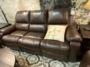 Real Leather Reclining Sofa, Brown for Sale in Downey, CA