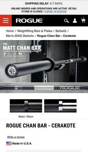 Matt Chan Bar Rogue fitness for Sale in South Gate, CA