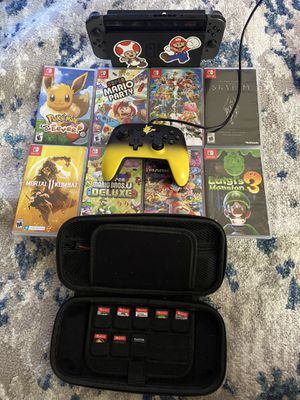 Nintendo Switch+ 8 games, 128gb sd card, button mapping control, and case for Sale in Wichita, KS