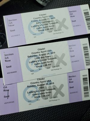 2- 3day GA passes for the citadel country music festival for Sale in Hamburg, PA