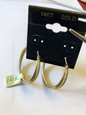 14k authentic yellow gold hoop earrings,7.77 grams,Glitter diamond cut,please look at all pictures for more details and my other stuff for Sale in Aurora, IL