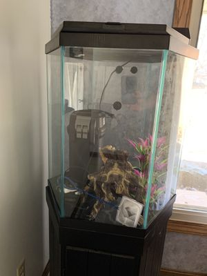 35 Gallon Octagon Fish Tank Setup for Sale in South Amherst, OH