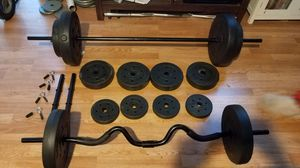2x adjustable dumbbell 1x 5 foot standard barbell 1x curl barbell 2x25lbs 2x15lbs 2x10lbs 4x7.5s 4x2.5s for Sale in Montebello, CA