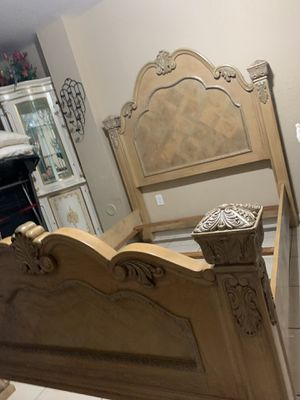 Queen bed frame and two night stand marble no mattress for Sale in Miami, FL