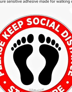 """PACK OF 10. Please practice social distancing floor sign. Covid 19 Coronavirus Safety sign. 7"""" Circle Pressure sensitive adhesive made for walking on. for Sale in La Habra,  CA"""