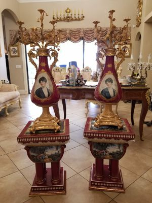 Antique pair of candelabras bronze and porcelain hand painted and pedestals set for Sale in Tampa, FL
